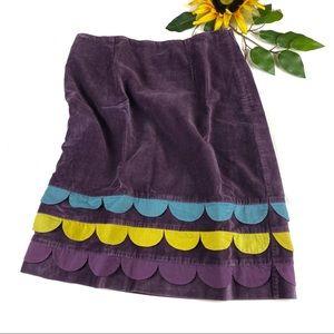 Boden Velvet A Line Scallop Purple Skirt